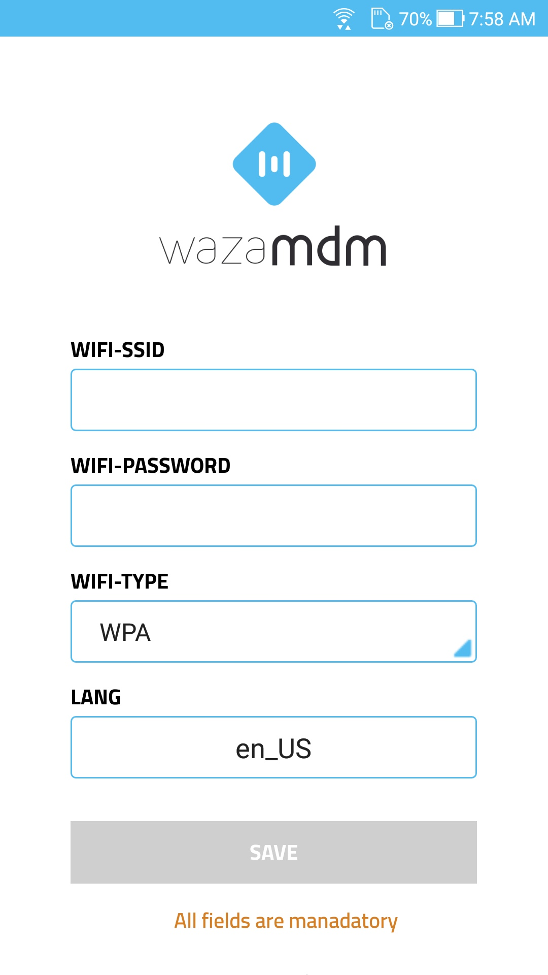 WaZa MDM - NFC Enrollment Application Screenshot