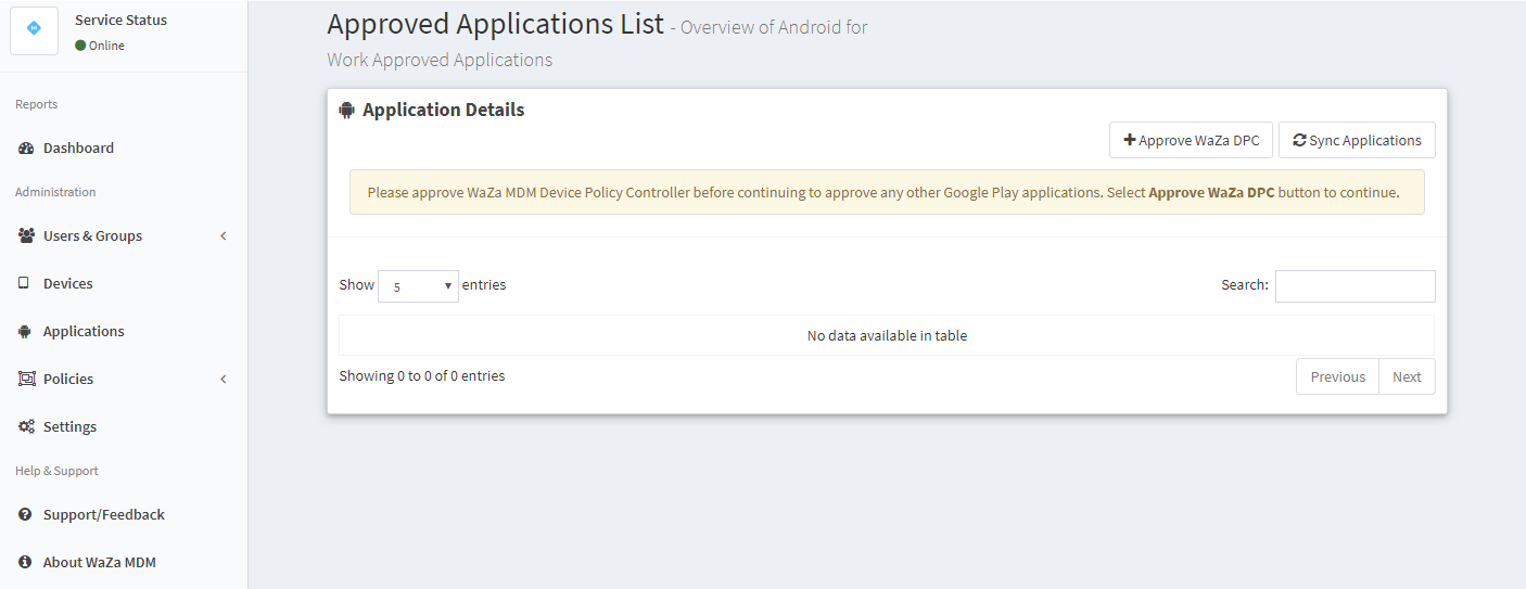 WaZa MDM Device Policy Controller