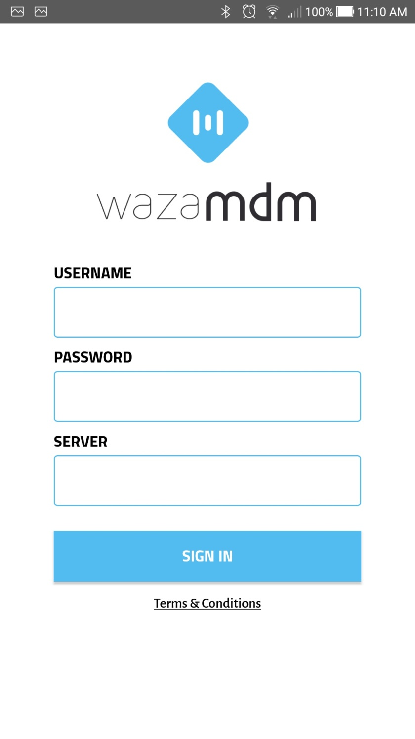 Login to WaZa Mobile Device Management