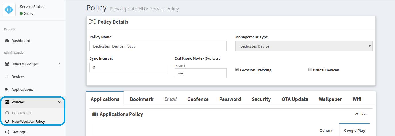 Setup Mobile Device Management Policy