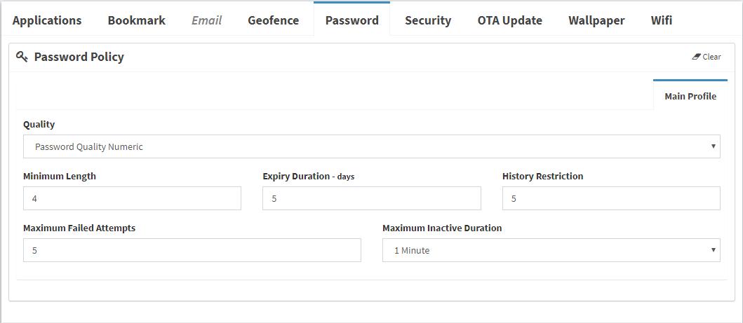 WaZa MDM Password Policy