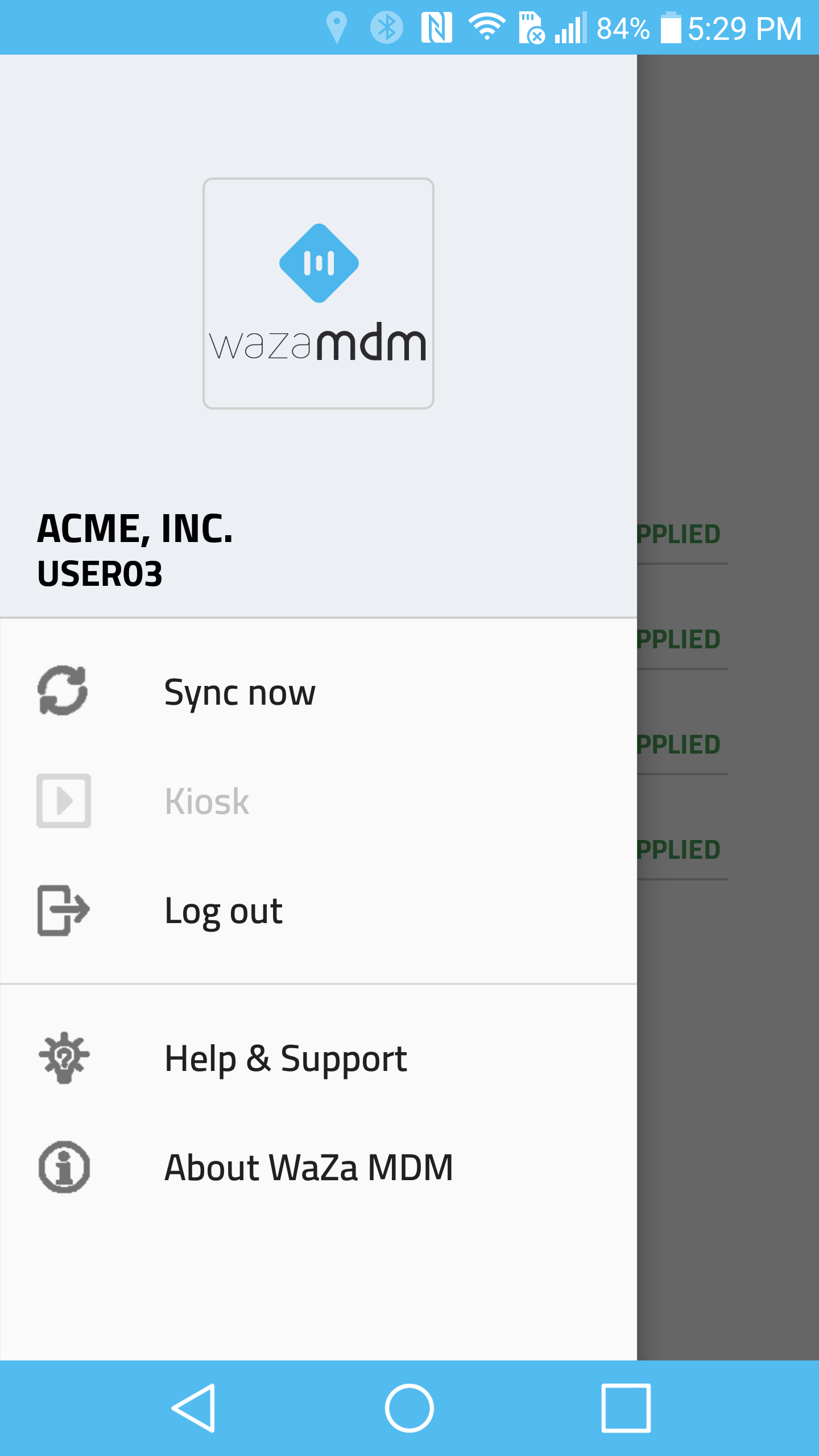 WaZa MDM Mobile Application